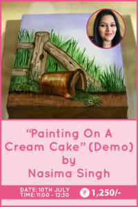 Cake Painting on a Cream Cake by Nasima Singh
