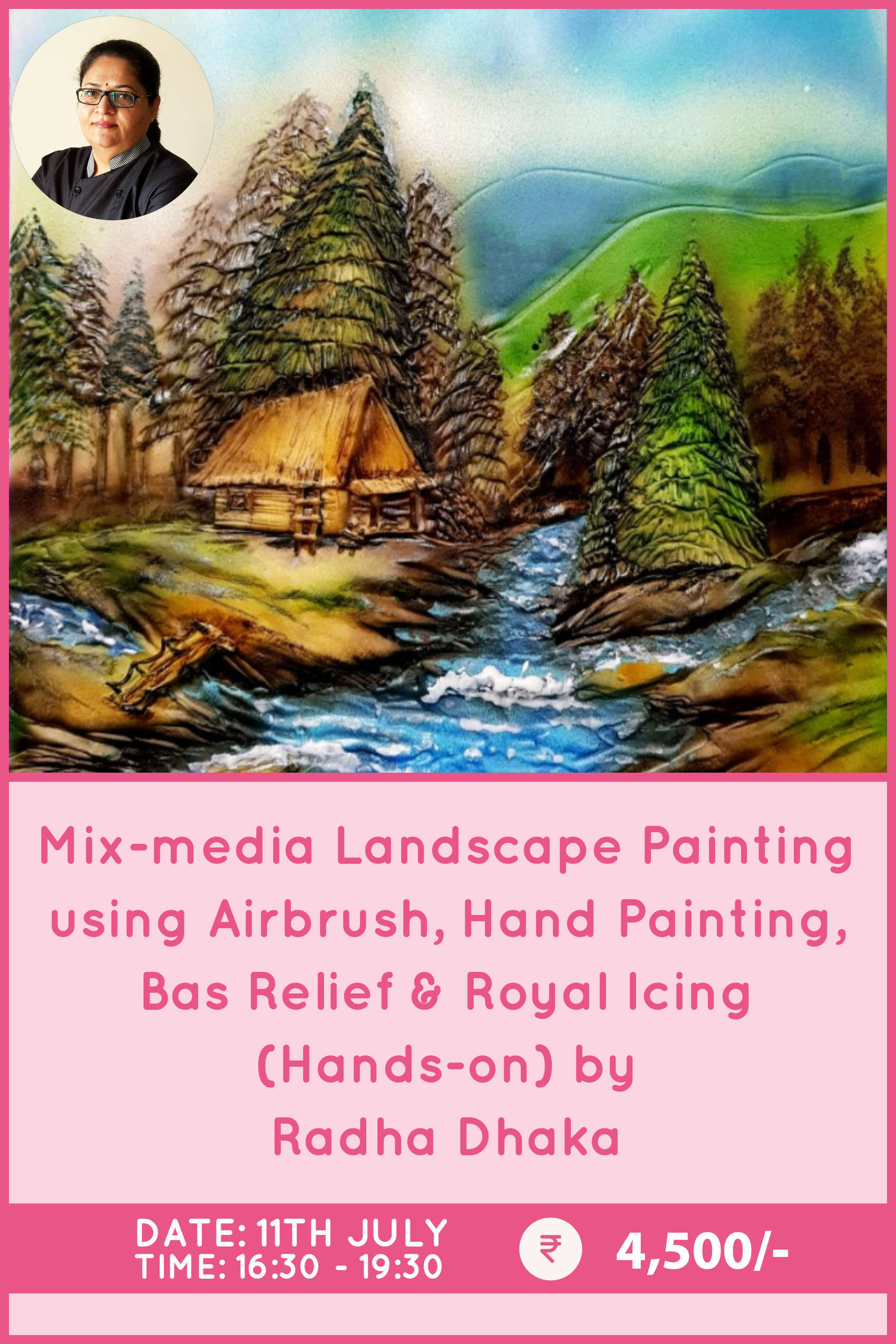 Mix media Landscape Painting using Airbrush, Hand painting, Bas Relief & Royal Icing by Radha Dhaka