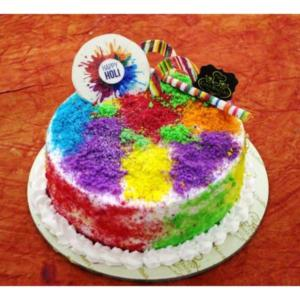 Holi Colour Sprinkled Cake